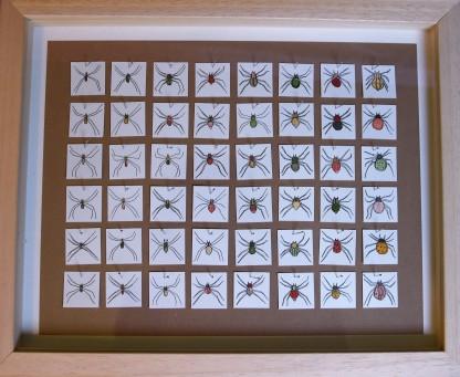 48 Fileuses - encre et aquarelle sur papier, 48 carrés de 2,5cm, 2015