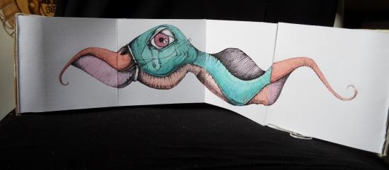 Leporello#2 - encre et aquarelle sur papier, 6 volets, 65x10cm