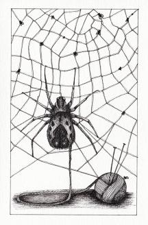 Filatures / araignée - encre sur papier, 10x15cm, 2015
