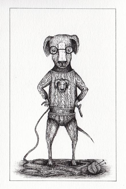 Filatures / Chien avec son pull - encre sur papier, 10x15cm, 2015