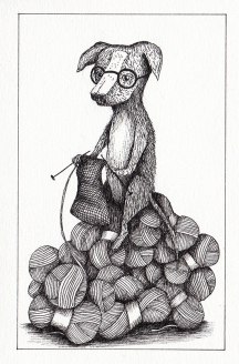 Filatures /chien qui tricote - encre sur papier, 10x15cm, 2015