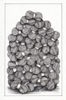 Filatures / Pelotes de laine - encre sur papier, 10x15cm, 2015