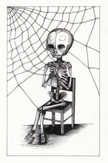 Filatures / squelette humain - encre sur papier, 10x15cm, 2015
