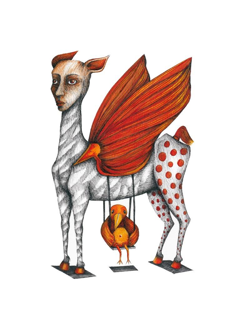 Liberté, le petit oiseau de feu #1, encre sur papier aquarelle, 24x32cm, mars 2016
