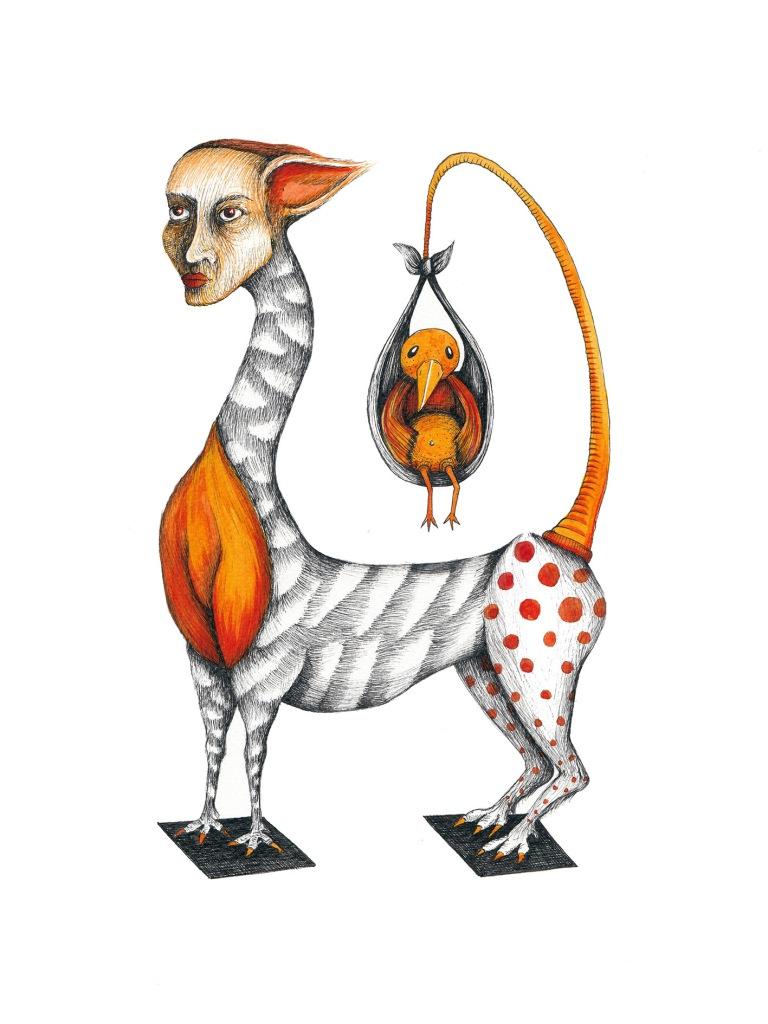 Liberté, le petit oiseau de feu #2, encre sur papier aquarelle, 24x32cm, mars 2016