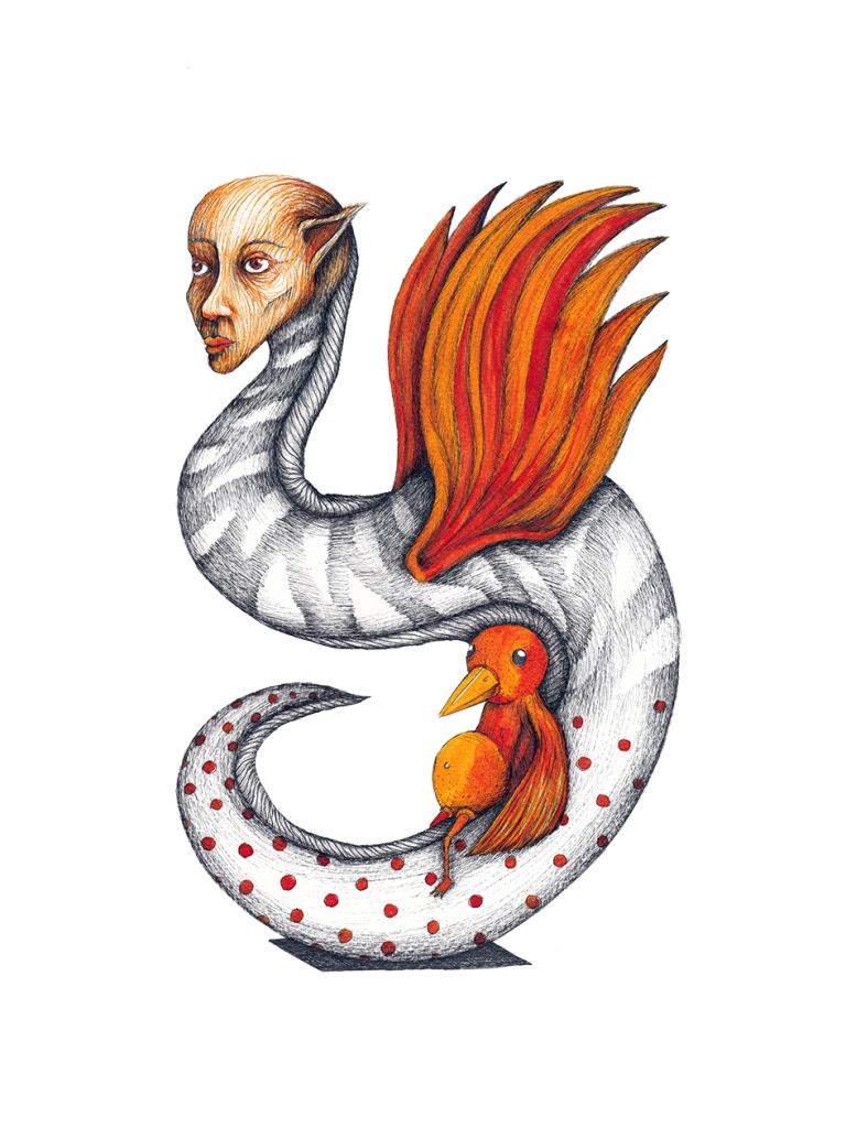 Liberté, le petit oiseau de feu #3, encre sur papier aquarelle, 24x32cm, mai 2016