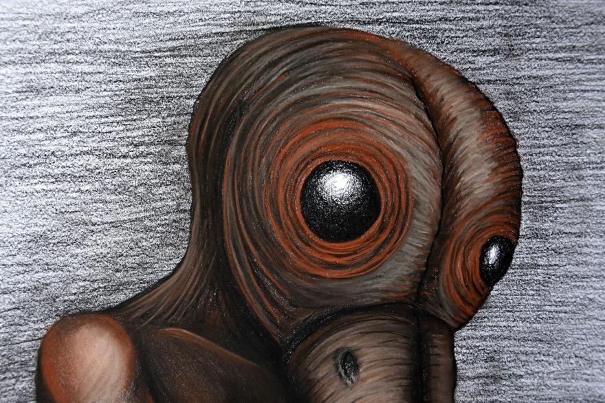 Femelle (détail) - Pierre noire, sépia et craie, 50x60cm, mars 2016