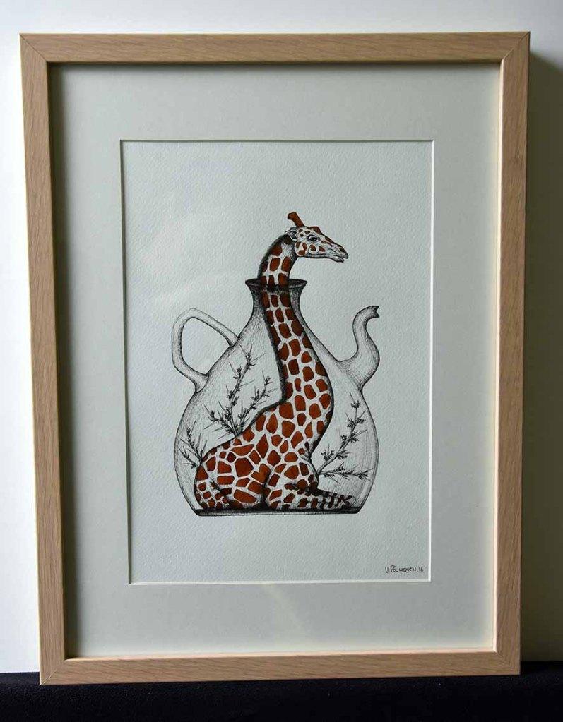 Infusion de Girafe, encre sur papier aquarelle, 24x32 cm, mai 2016