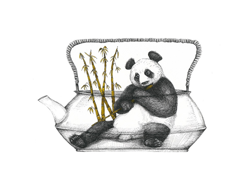 Thé de Panda, encre sur papier aquarelle, 24x32 cm, juin 2016