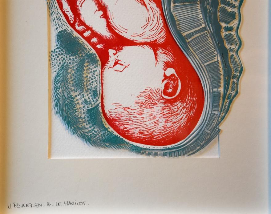 Le Haricot, sérigraphie bichromie sur papier et verre, 21x30cm, juin 2016