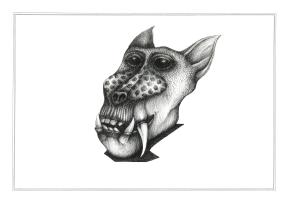 Miroir babouin #2, encre sur papier Canson à grain 224g, A3, février 2017